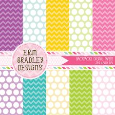 School Backpacks Digital Paper Set Personal & Commercial Use Instant Download