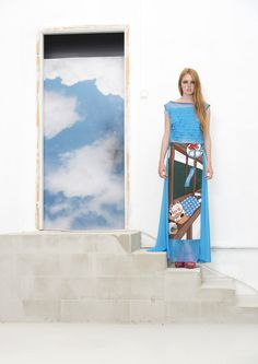 only for order Bright SKYBLUE MAXI SKIRT with by NATIPUREIDEA
