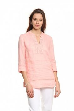 528c251307 Women Peach-Coloured Linen Tops - Cottonworld Tops For Leggings