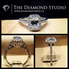 This @diamondboi design was made with a spectacular Emerald cut diamond. The diamond was placed in a cut cornered Italian pave halo. The thin shank was also placed in an Italian pave setting. The gallery I created a diamond ballooned basket that connect my vintage scroll work. #diamond #diamonds #wedding #weddings #engagement #ring #rings #bride #brides #jewellery #jewelry #vintage #halo #emerald #diamondboi