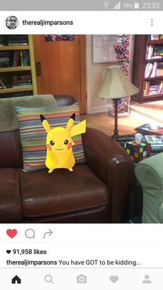 Pikachu is in Sheldon's spot...                                                                                                                                                                                 More