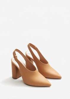 #Strut -- Slingback leather shoes - Women | MANGO USA