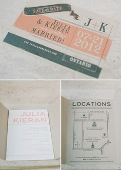 peach and gray wedding invites by Paper & Poste