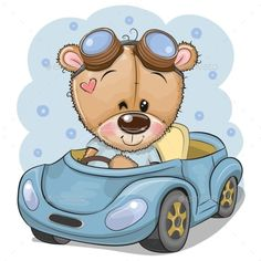 Cartoon Teddy Bear in glasses goes on a Blue car. Cute Cartoon Teddy Bear in glasses goes on a Blue car stock illustration Teddy Bear Cartoon, Cute Teddy Bears, Cute Cartoon, Tatty Teddy, Disney Cartoon Characters, Disney Cartoons, Animal Drawings, Cute Drawings, Cartoon Mignon