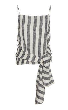 Agni Iva Wrap-effect Linen-blend Top In Black/white St Agni, Wide Leg Pants, World Of Fashion, Daily Fashion, Luxury Branding, Women Wear, Style Inspiration, Black And White, Fashion Design