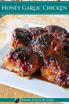 This recipe for honey garlic chicken is absolutely delicious! Smothered in a scrumptious sweet and savoury sauce and so easy to make. You can make this in the oven, in a slow cooker or your instant pot. Garlic Chicken Recipes, Honey Garlic Chicken, Easy Family Meals, Easy Meals, Family Recipes, Cookbook Recipes, Dessert Recipes, Good Food, Yummy Food