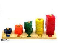 Playing with these shapes provides children with a hands on demonstration of geometric and numeral recognition and counting and colour matching. Made from plantation timber, using non-toxic and child-safe materials.