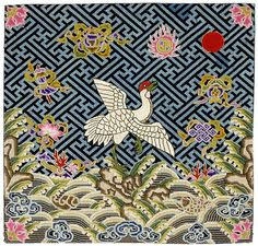 Chinese Embroidery Female 1st Rank Badge with Crane, late Qing.