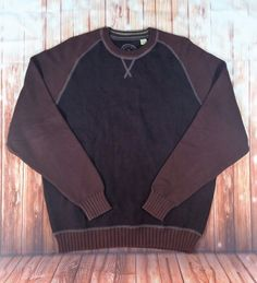 #TommyBahama Men's Knit Brown #Crewneck Long Sleeve Cotton #PullOver #Sweater