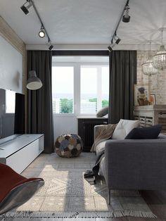 студии стиле квартиры проект однокомнатной лофт  в