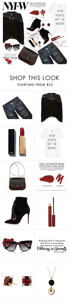 """""""red for runaway"""" by nataskaz ❤ liked on Polyvore featuring Thomas Wylde, Dsquared2, Chanel, Zoe Karssen, laContrie, Urban Decay, Christian Louboutin, Kevyn Aucoin, Anna-Karin Karlsson and David Yurman"""