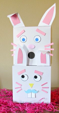 Bunny box DIY with silly printable mix and match faces. So much fun for kids(and adults)!