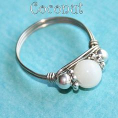 COCONUT Celebration Party Ring in Mother of Pearl Ring in Silver Sizes 3 - 10 by Maru