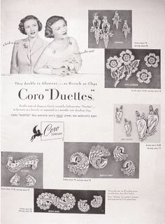Vintage Dress Clip ad for Coro Duettes, love collecting dress clips!