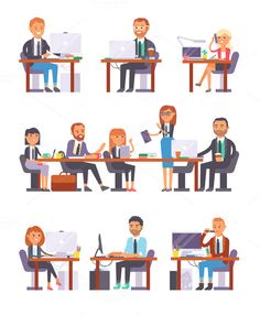 People working in busy office vector @creativework247