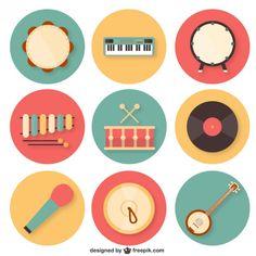 Coleta de instrumentos musicais coloridos Vetor grátis