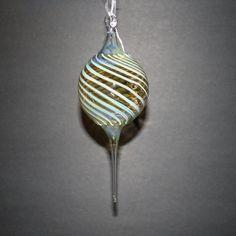 Striped Hand Blown Glass Christmas Ornament. $15.00, via Etsy.