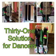 Thirty-one deluxe utility tote as a mobile rack for dance costumes.... Can purchase the tote at mythirtyone.com/notjustanybag and message me for information about the PVC rack.