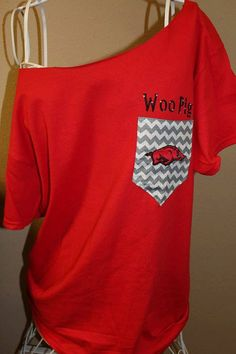 Looking for discount designer fashion? Come visit www.kpopcity.net today!!! Arkansas Razorbacks Pocket Off-the-Shoulder Shirt Chevron on Etsy, $32.00
