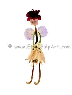 Pressed flower art - angel, fairy or girl with wings holding a bouquet - oshibana - greeting card, female, invitation - digital print