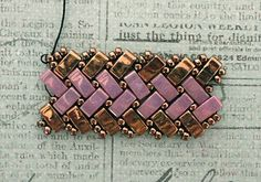 Half Tila Herringbone Bracelet. Links to several FREE Tutorials.~ Seed Bead Tutorials
