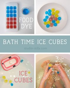 Need fresh play ideas for bath time fun for kids? Make ice cubes with food dye Super easy to do (kids can help) and the kids will love it! Also a great opportunity for sensory play. Find more easy & fun play ideas here. ♥︎ Bathtime fun ideas for kids Summer Activities, Toddler Activities, Water Activities, Colored Ice Cubes, Science Crafts, Best Bath, Kids Bath, Sensory Play, Play Ideas
