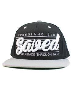 Image of Saved by Grace SnapBack (Black Grey) Christian Shirts 7c7feba1fc64