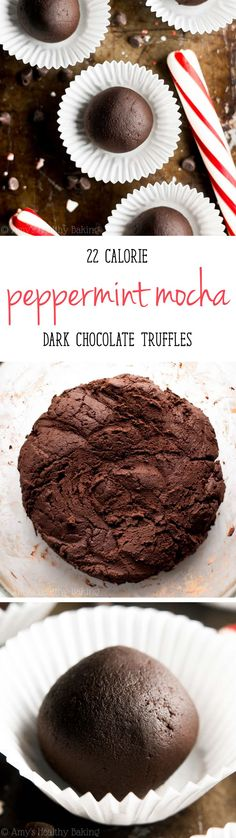 Healthy Dark Chocolate Peppermint Mocha Truffles -- so easy & just 22 calories! You probably have all 5 ingredients in your pantry!
