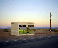 """The instillation """"Prada Marfa"""" by Elmgreen and Dragset is located along US 90 in Valentine, Texas. It cost $80,000 to be constructed and wi..."""
