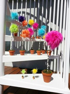 MEDIUM Pom Tree inches tall) inspired by Dr Seuss The Lorax Truffula Trees Dr Suess Baby, Dr Seuss Baby Shower, Der Lorax, Dr Seuss Nursery, Dr Seuss Birthday Party, 5th Birthday, Birthday Parties, Truffula Trees, Get Thin