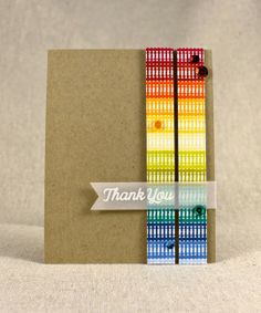 Rainbow Thank You Card by Lizzie Jones for Papertrey Ink (June 2014)