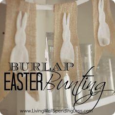 No-Sew Burlap & Bunny Bunting   Handmade Burlap & Bunny Bunting   Diy Burlap & Bunny Bunting   Bunting Ideas   Free Printable Bunting Template  via @lwsl