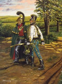 Officers of 6th Lancers and 5th Hussars, 1813, by Stefano Manni