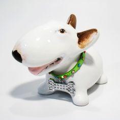 Bull Terrier Coin Money Box Art Dog Lover Pet Gifts Decoration Crafts | madamepomm - Housewares on ArtFire