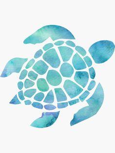 'Sea Turtle Watercolor Blue' Sticker by livpaigedesigns Drawing Tips turtle drawing Sea Turtle Painting, Sea Turtle Art, Water Color Turtle, Sea Turtle Tattoos, Blue Water Color, Sea Turtle Nursery, Turtle Outline, Sea Life Nursery, Purple Turtle