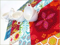 Colorful Placemats with Hand Stitch Accents   Sew4Home