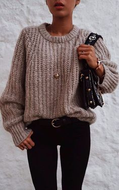 black and nude | knit sweater + bag + skinnies