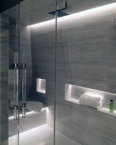 33 Gorgeous Bathroom Lighting Ideas - I bet you are dreaming to have that elegant bathroom like those of the bathrooms of the hotel rooms equipped with bathtub and other beautiful features. Shower Lighting, Modern Bathroom Lighting, Modern Bathroom Design, Bathroom Interior Design, Cool Lighting, Lighting Ideas, Minimal Bathroom, Bath Design, Tile Design