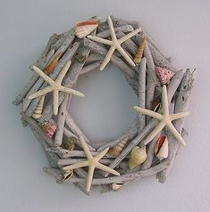 $18.00 	  Nautical Ocean Decor-Handcrafted Driftwood Art  Starfish Shell Wall Door Wreath home-by-the-sea