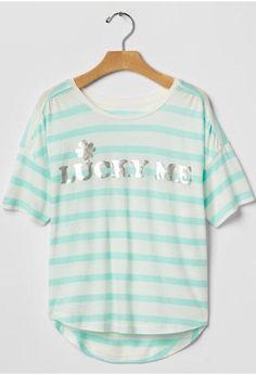 NWT Gap Kids Girls Supersoft Shore Blue Short Sleeve Tee Top size L #GapKids