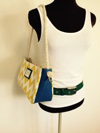 Recycled Chevron Pattern Shoulder Bag made with Upcycled Layflat Hose