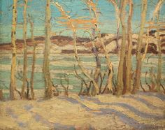 """A Lake Shore,"" Alexander Young Jackson, oil on wood panel, 8 x 10 private collection. Drafting Drawing, Tom Thomson, Emily Carr, Group Of Seven, Lake Shore, Canadian Art, International Artist, Large Painting, Wood Paneling"