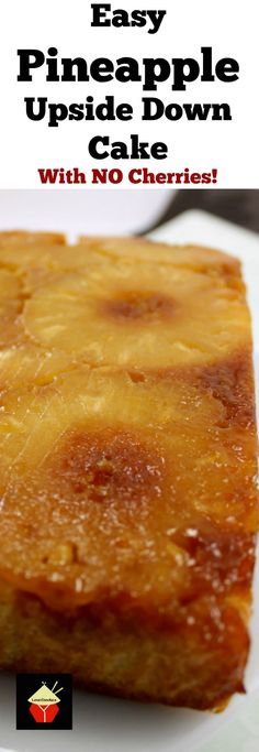 Sunshine on a plate! Easy Pineapple Upside Down Cake. This is a very easy, made from scratch recipe. The cake is so soft and moist, bursting with pineapple flavor. Options for reduced sugar too! via @lovefoodies