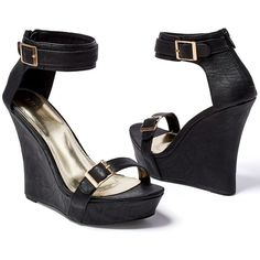 Venus Women's Buckle Detail Wedge ($17) ❤ liked on Polyvore featuring shoes, sandals, black, black wedge shoes, black wedge sandals, high heel wedge sandals, black platform shoes and black wedge heel sandals