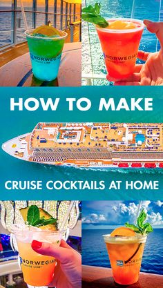 Feel like sippin' on sunshine? From tropical, fruit cocktails of The Caribbean to crisp and refreshing European classics, discover how to make these delicious cruise cocktails at home. Bar Drinks, Cocktail Drinks, Alcoholic Drinks, Cocktail Shaker, Refreshing Drinks, Yummy Drinks, Alcohol Recipes, Alcohol Mixers, Drinks Alcohol