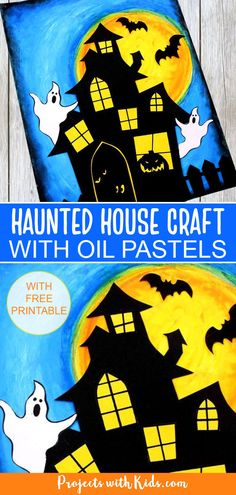 Use oil pastels and paper to create this awesomely spooky haunted house craft! The perfect Halloween art project kids will have fun making. Free printable included.