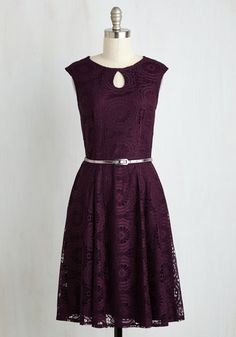 Network Your Magic Dress - Purple, Solid, Wedding, Daytime Party, Bridesmaid, A-line, Short Sleeves, Woven, Lace, Better, Long