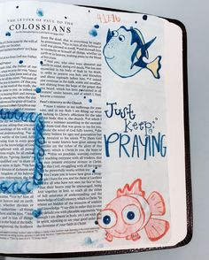 "Colossians ""we have not ceased to pray"" . I love adding recognizable characters to my Bible it really adds a level of relatability to the text. Bible Drawing, Bible Doodling, Bible Verses Quotes, Bible Scriptures, Cute Bible Verses, Scripture Art, Bible Art, Cute Bibles, Good Vibe"