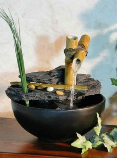 http://diy-gardensupplies.com/ Indoor Bamboo Tabletop Water Fountain, Asian Zen Garden Desktop Home Decor  These tabletop fountains are perfect for travel, on your desk at work, or anywhere in your home because you don't need to worry about plugging them in!: