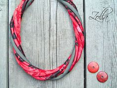 RED textile necklace textile upcycled necklace COLORFUL by Zojanka